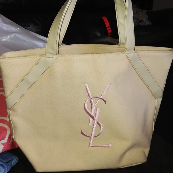 c129a7a95b98 Authentic YSL Canvas Tote w  Pink Lettering. M 5b353d0c4ab633e43bf74e59